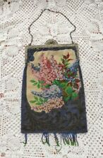 Antique Glass Floral Beaded Purse Handbag Bag Italy Hand Knitted Silver Frame