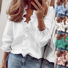 Womens Long Sleeve Shirts Blouse Ladies Ruffle V Neck Top T Shirts Plus Size UK