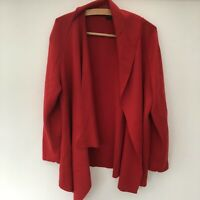 Women's Red Lagenlook Quirky Cardigan Size 18-20 Merino Wool Mix Christmas