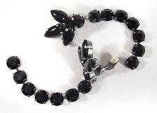 SoHo® lange Ohrclips navette geschliffene Kristalle jet schwarz black gothik