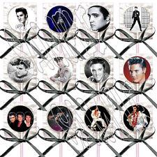 Elvis Presley Lollipops w/ Black Ribbon Bows Party Favors King Rock & Roll (12)