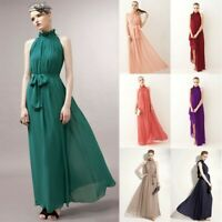 Women's Boho Strappy Halter Chiffon Dresses Ladies Summer Holiday Beach Sundress