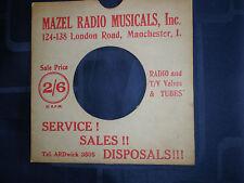"MAZEL RADIO (MANCHESTER) - BESPOKE RECORD SLEEVE (RED/WHITE) FOR 7"" SINGLE - VG"