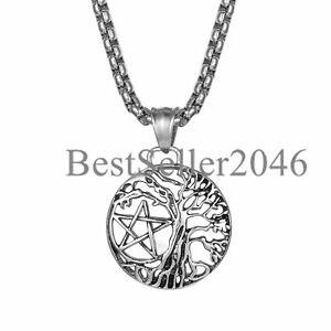 "Retro Mens TREE OF LIFE Pentagram Pendant WICCAN Pagan Druid Celtic Necklace 22"""