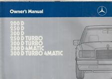 MERCEDES BENZ W124 200 250 300 DIESEL SALOON ORIGINAL 1988 INSTRUCTION HANDBOOK