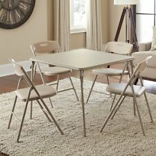 5 Pc Folding Table 4 Chair Dining Living Room Set Beige Play Card Party Guests