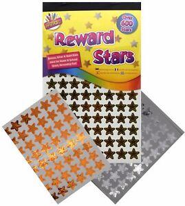 600 x Reward Star Stickers Silver Gold Bronze Home School Teacher Good Work