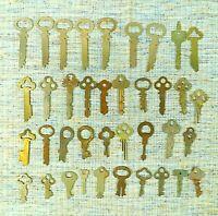 Vintage Lot of 38  Flat Skeleton, Punched Keys Various Brands Unique