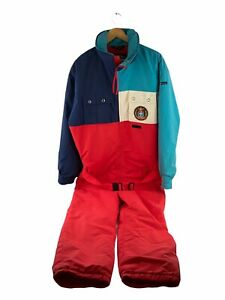 VINTAGE Snuggler Snow Ski Suit Mens Size S Red Colourblock Zip Insulated Belted