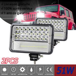 "2X 5"" 51W Barre LED Phare De Travail 12V Projecteur Offroad Spot for Jeep SUV"