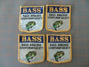 4 Vintage B.A.S.S. Patches - Old Logo - 3 1/4 x 3 1/2 inch
