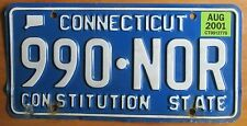 Connecticut 2001 License Plate NATURAL # 990-NOR