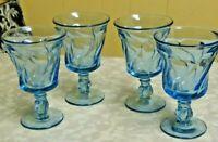 "Set Of 4 Fostoria Jamestown Blue Swirl Footed 5 3/4"" l Water Goblets Glasses"