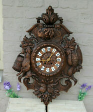 Antique Black forest wood carved hunting trophy wall clock dog birds rabbit