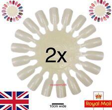 2 x Nail Colour Display Wheel Stand Gel Art Practice False Tips White Palette