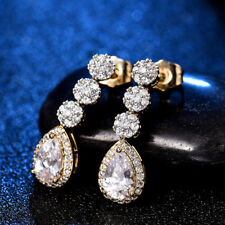 Women's White Sapphire Bridal Wedding Pear Dangle Earrings 18K Multi-Tone Gold