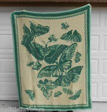 Made in Japan Vintage Yamaken Reversible Blanket Greens and Cream Butterfly Prin