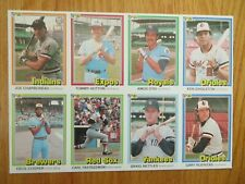 1981 DONRUSS Uncut Sheet 8 Cards JOE CHARBONEAU CARL YASTRZEMSKI GRAIG NETTLES