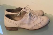 Clarks Ladies Shoes 6.5 E Wide Fit Brogues Leather Lace Up Cream Smart Casual