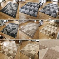 SMALL - LARGE VISIONA ASPECT GEOMETRIC BEIGE CREAM GREY 3D EFFECT MODERN RUGS