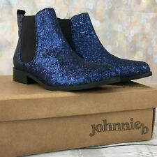37 mini Boden Johnnie B navy blue glitter ankle Chelsea boots shoes leather