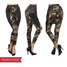 Camo Camouflage Army Green Drop Crotch Hip-Hop Dance Harem Leggings Sweat Pants