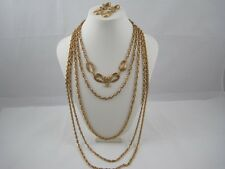 Runway MONET Gold Tone GP Bow Oval Necklace & Clip Earrings 5 Strand Chain Set