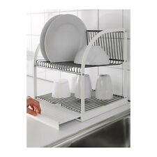 Dish Drainer, Steel Rack Cutlery Plates Tray Drying Kitchen Utensil White - NEW