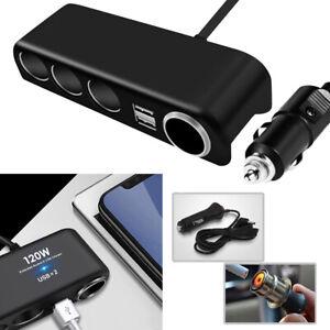 4 Way 12V 24V Multi Socket Car Cigarette Lighter Splitter USB Charger Adapter