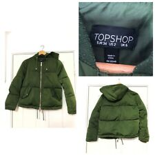 Topshop Women Green Jacket Puffa Thick Size 6 With Hoodie (C450)