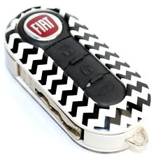 Fiat 500 Single White Black Zig Zag Remote Key Cover Case New Genuine 50927692Z