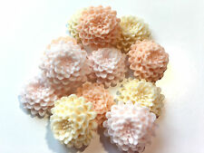12 Edible Sugar Peach, Ivory & Baby Pink Chrysanthemums Flower Cake Decorations