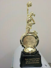 """cheer trophy or award, with your engraving, personalized, about 8.25"""" tall"""