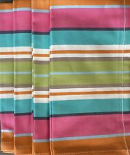 Pottery Barn Espadrille Striped Napkins Set/4 In Pink