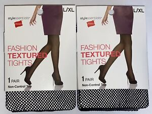 Set of 2 Hanes Fishnet Fashion Textured Tights Black Non-Control Top Size L/XL