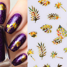 Gold Coconut Tree Leaf 3D Nail Stickers Holographic Manicure Adhesive Tips Decal