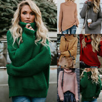 Womens Turtle Neck Chunky Knitted Sweater Ladies Loose Warm Pullover Jumper Tops