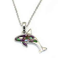 "Orca Killer Whale Charm Pendant Necklace - Abalone Paua Shell - 18"" Chain"