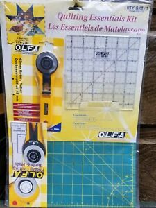 "OLFA Quilting Essentials Kit - Rotary Cutter, 12""x18"" Mat, 6.5""x 6.5"" Ruler NEW"