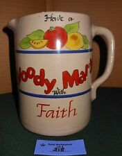 VTG Folk Art Hand Turned Crock Pitcher Bloody Mary Recipe Large