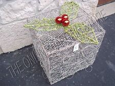 Christmas Holiday Glitter Sparkle Holly Leaf Decorative Present Gift Box SILVER