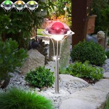 Garten LED Steck Erdspieß Außen Solar Leuchte Weg Lampe Farbwechsler Edelstahl