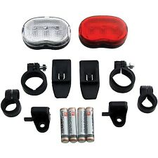 Am-Tech 2pc LED Bicycle Flash Light Cycle Bike Front & Rear Light with Batteries