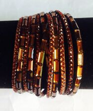 New Stunning Golden Brown Mirror Crystals Double Wrap Leather Bracelet