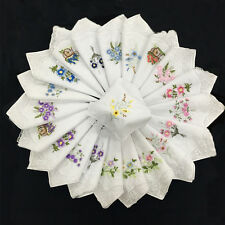 6pcs Portable Floral Randomly Embroidered Floral Assorted Ladies Handkerchief