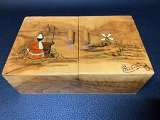 Vintage MALLORCA Wooden Cigarette Box Two Layer Rack 22 Cigarettes Dispenser