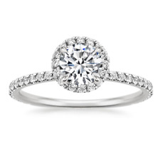 1 Ct Round Cut Halo Diamond Engagement Promise Ring in Solid 14K White Gold
