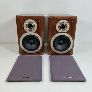 Sharp CP-M3H Bookshelf Hi-Fi Stereo Speakers Gloss Veneer Pair 4ohm 40w