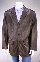 Lamatta Brown Pebble Grain Leather Blazer Coat Men's Eu 56 - US 46/XL