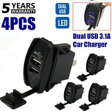 4PCS Dual LED USB Car Auto Power Supply Charger Port Socket Waterproof 12-24V DC